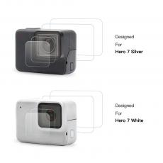 GoPro 7 Screen Protector Tempered Glass LCD and Lens Protector for Go Pro Silver White