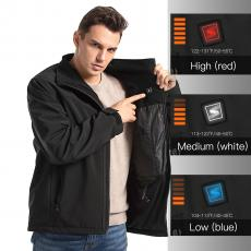 Shoot Men's Heated Softshell Jackets with 6700mAh Rechargeable Battery for Winter Outdoor Activity